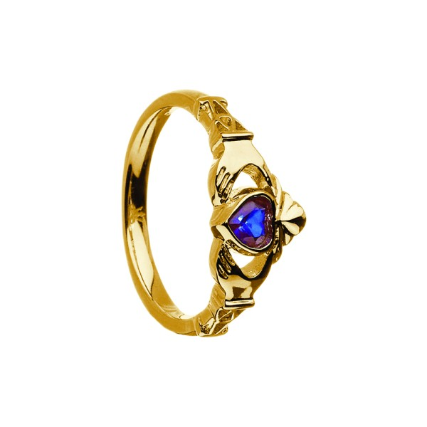 Irischer Ring Geburtsstein / Monatsstein September Saphir Claddagh Gold