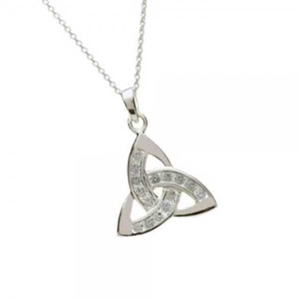 Irischer Anhänger Trinity knot Silber mit Zirkon