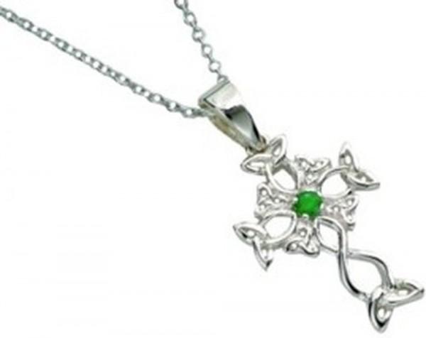 Keltisches Kreuz mit Smaragd Silber 925