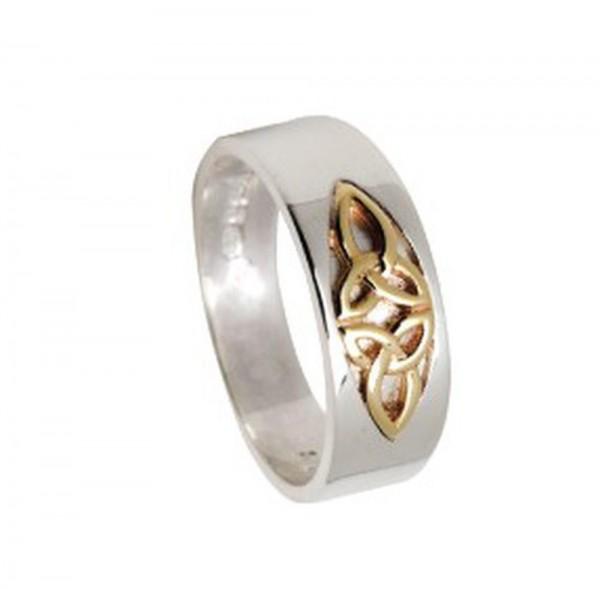 Irischer keltischer Ring Trinity Knot Silber und Gold