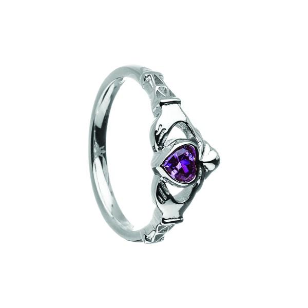 Irischer Ring Silber Geburtsstein / Monatsstein Februar-Amethyst