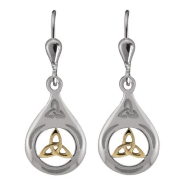 Ohrringe Trinity Knot aus Silber 925 und Gold aus Irland
