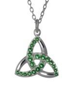 Irischer Schmuck Trinity Knot Silber mit grünen oder weißen Zirkonia