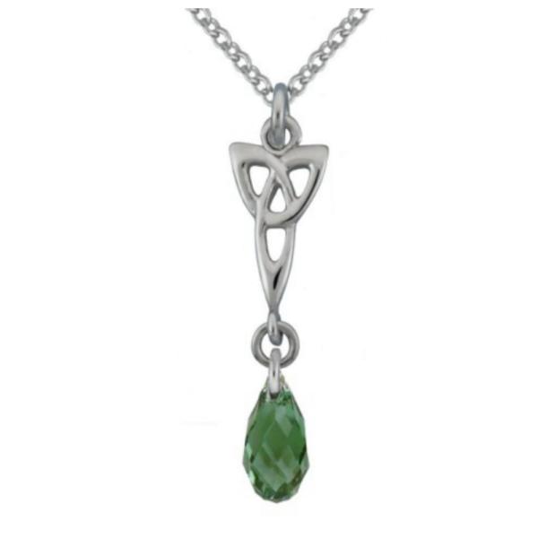 Trinity Knot Anhänger mit grünen Swarowski Kristallen