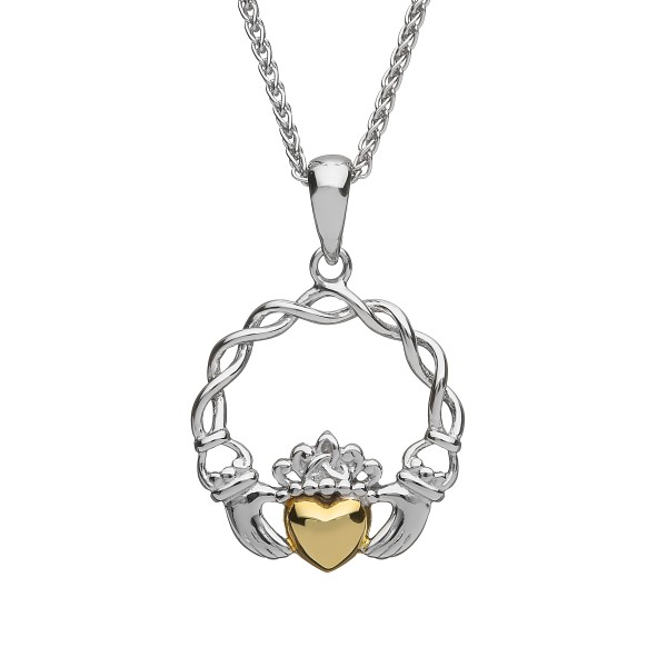 Claddagh Anhänger Herz Silber mit Herz aus massivem 10 Karat Gold