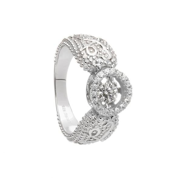 Irischer Ring aus der Damhsa Kollektion Trinity knot & Claddagh Ring Silber mit Zirkonen