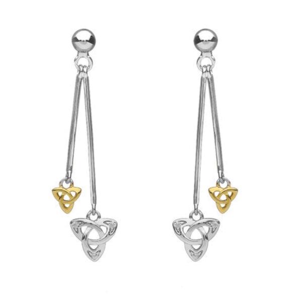 Silber 925 doppelte hängende Ohrringe Trinity Knot mit Zirkonen