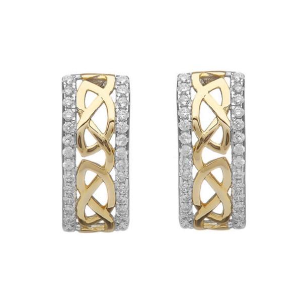Silber 925 keltische Ohrstecker Trinity Knot vergoldet