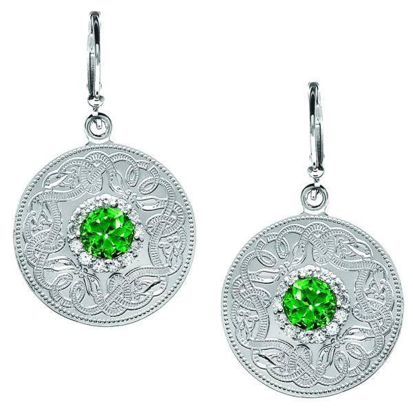 Irische Ohrringe Medium mit klaren und grünen Schweizer Zirkonen