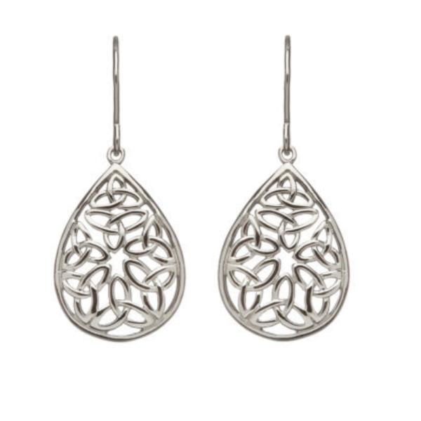 Keltische Ohrringe Silber 925 offene Trinity knot