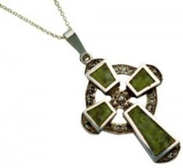 Silber Kette keltisches Kreuz mit Marmor