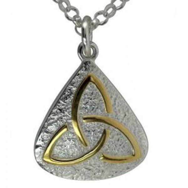 Irische Kette Trinity Knot Silber 925 mit 14 ct Gold