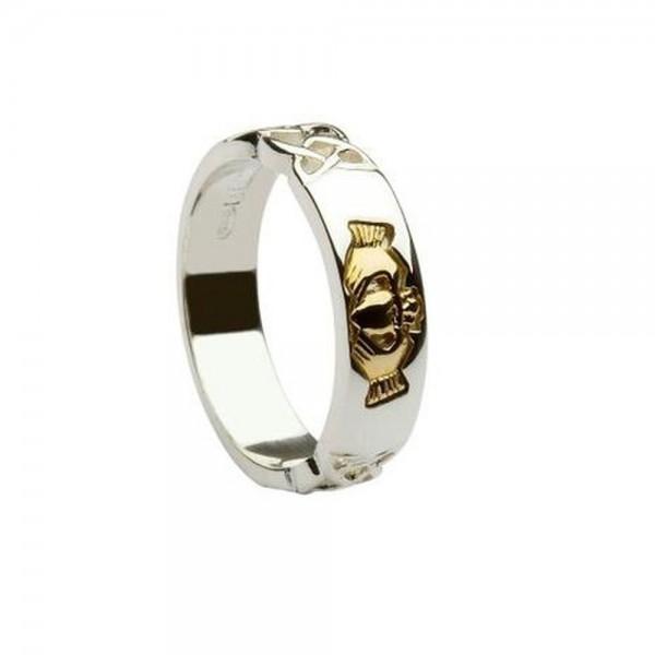 Irischer Schmuck Claddagh Ring aus Silber 925 mit Gold 585