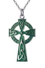Kette mit traditionellem Irischen Hochkreuz grün