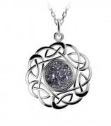 Keltischer Drusy Anhänger rund Silber keltischer Knoten Platinum / grau