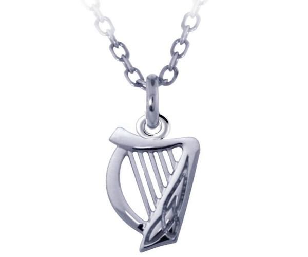 Silberkette irischer Anhänger Harfe 925