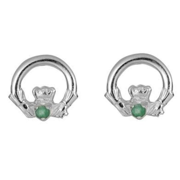 Irische Klassische Claddagh Ohrringe mit Smaragd