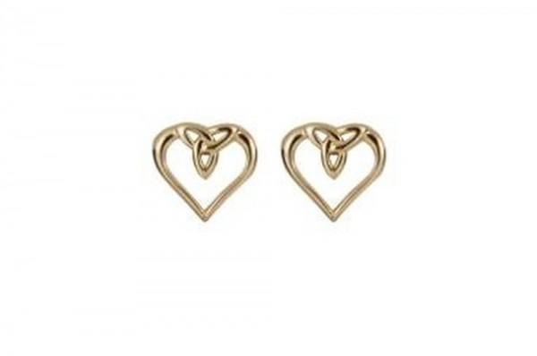 Keltische Ohrringe Trinity Knot mit Herz 10 ct. Gold 416