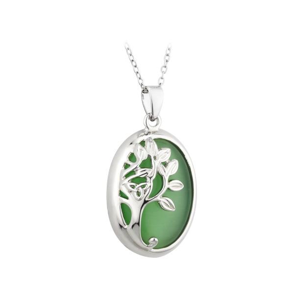 Kette mit Anhänger Baum des Lebens rhodiniert.