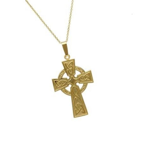 Keltisches Kreuz mit Kleeblatt und Kette in 10 ct Gold (416).