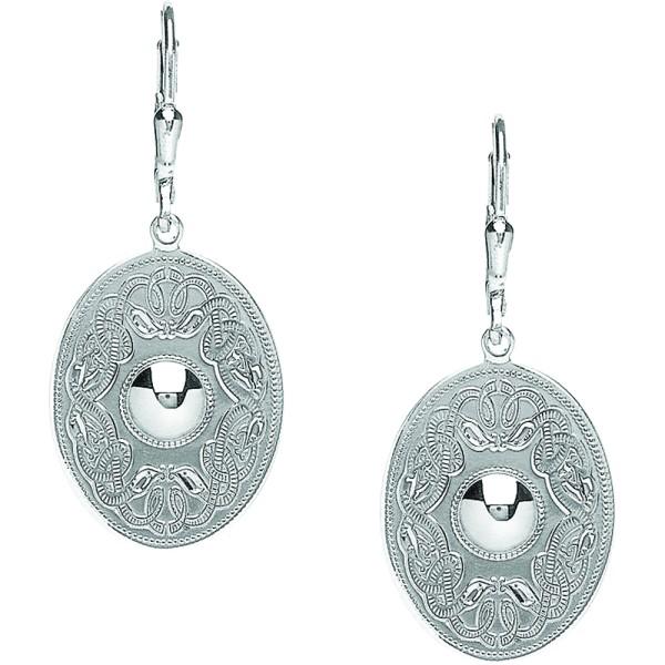 Irische Ohrringe Keltischer Krieger oval Silber 925
