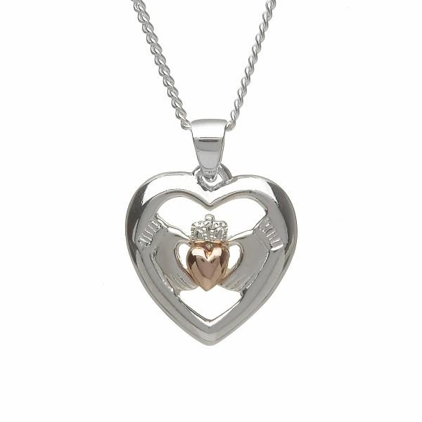 Irische Kette Claddagh Herz Liebe, Loyalität und Freundschaft Silber