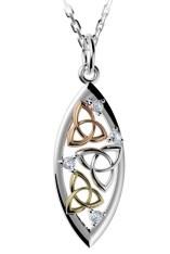 Irischer Schmuck Dreifarbiger Anhänger Trinity Knot Silber