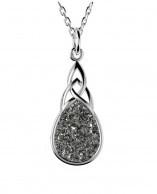 Keltischer Drusy Anhänger rund Silber keltischer Knoten