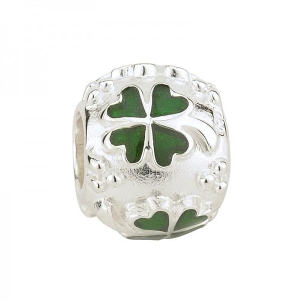 Celtic Bead vierblättriges Kleeblatt Silber emalliert