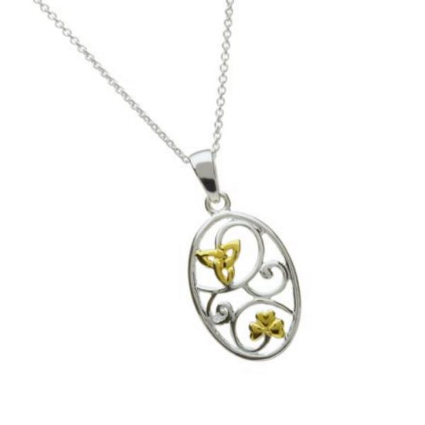 Ovaler irischer Anhänger Silber Kleeblatt Trinity Knot