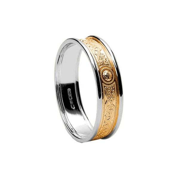 Damenring / Trauring Diamant Set Warrior Shield aus Weißgold mit Gelbgoldrahmen