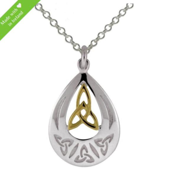 Keltische Kette Trinity Knot Silber 925 und 585 Gold