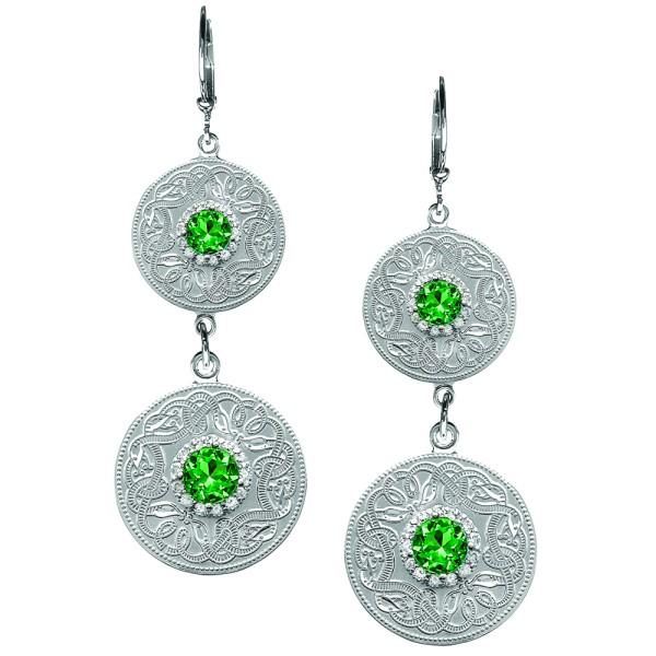 Doppelte Irische Ohrringe Celtic Warrior keltischer Krieger aus Silber 925 mit grünem Zirkon