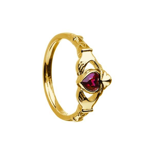 Irischer Ring Geburtsstein / Monatsstein Juni-Alexandrit Claddagh Gold