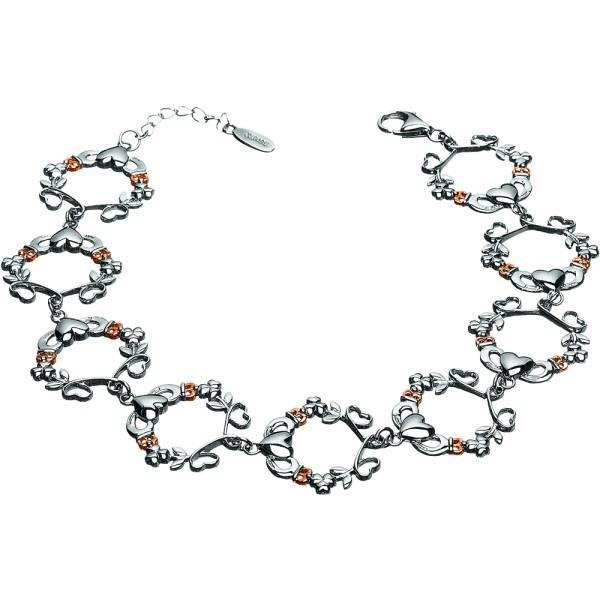 Irisches Armband Herz Claddagh Kleeblatt Silber 925