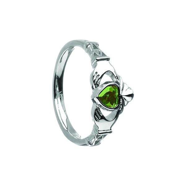 Irischer Ring Geburtsstein / Monatsstein Mai-Smaragd Claddagh Ring