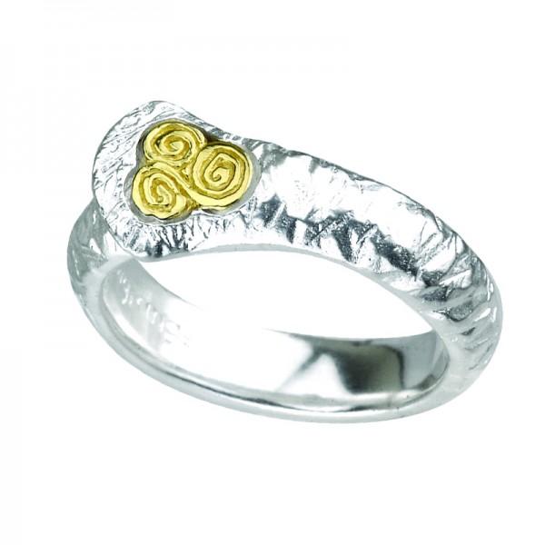 Keltischer Damenrig Silber und Gold Newgrange