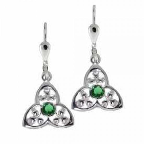 Irische Ohrringe Trinity Knot / Kleeblatt Silber 925
