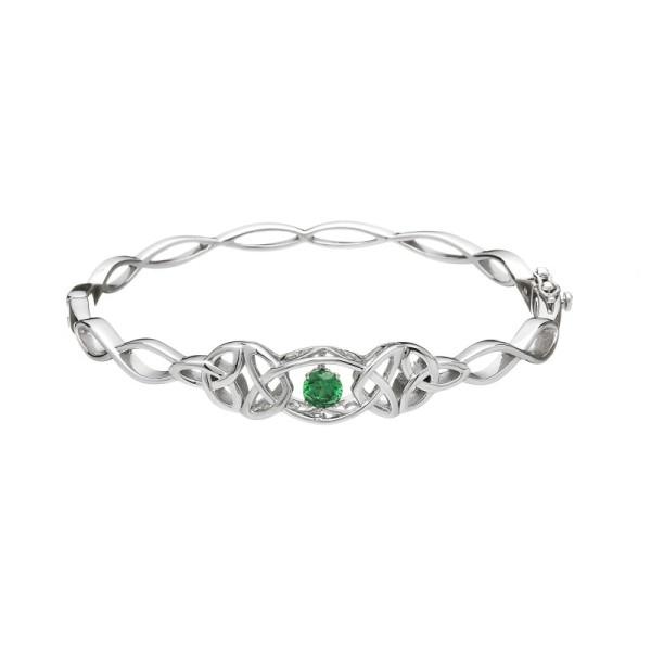 Trinity Knot Armband Silber 925 mit grünem Zirkonia