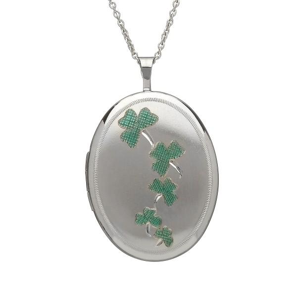 Keltische irische Kette mit ovalem Medallion aus Silber 925 mit grünem Kleeblatt.