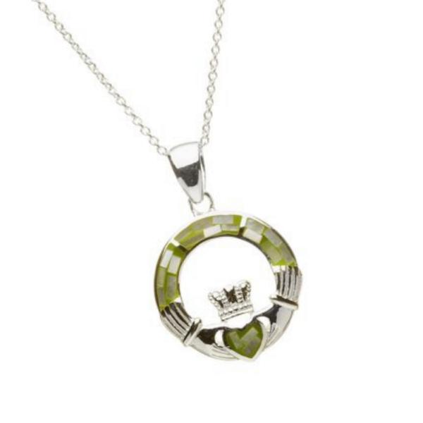 Irische Kette Silber 925 mit grünem Mosaik