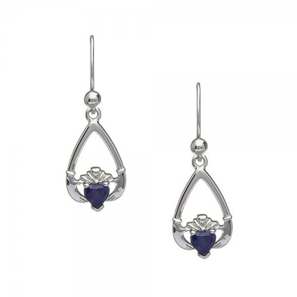 Claddagh Ohrringe Geburtsstein September Blauer Saphir Silber