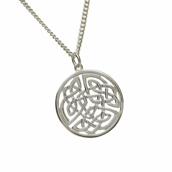 Keltischer Anhänger rund Silber groß