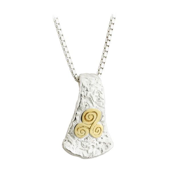 Keltische Kette Trinity knot Silber mit Gold