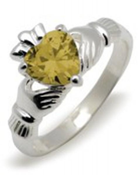 Irischer Claddagh Ring Geburtsstein November Silber 925