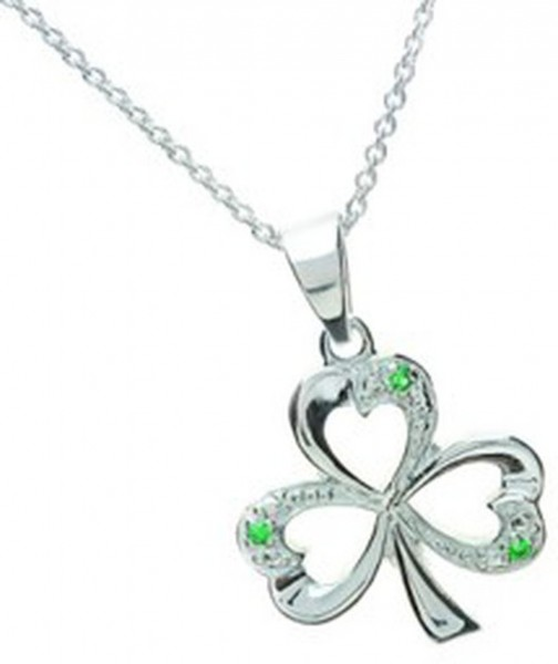 Silberanhänger Kleeblatt mit grünem Zirkon