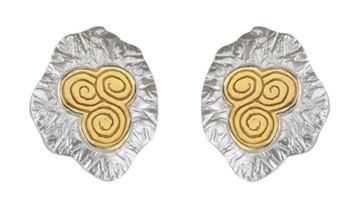 Irische Ohrringe Newgrange Silber und Gold
