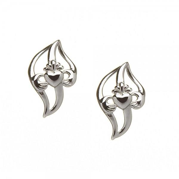 Keltische Claddagh gekrümmte blattförmige Ohringe Silber 925