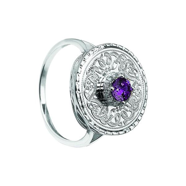 Keltischer Krieger Ring Silber mit Amethyst