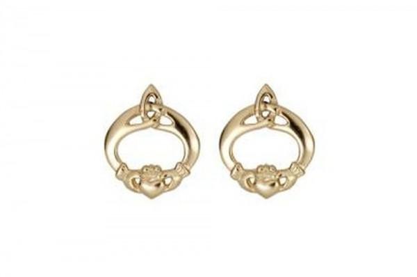 Keltische Ohrringe Cladagh mit Trinity Knot 10 ct. Gold 416